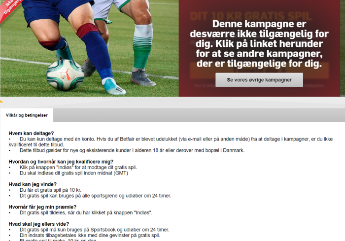 For alle spillere: Hent 10 kr. freebet hos betfair gratis